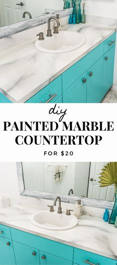 From Sweet Teal Learn how to paint marble on your countertops to give them an expensive look for a l Diy Marble, Faux Marble Countertop, Painting Countertops, Diy Countertops, White Marble, Paint Bathroom Countertops, Paint Kitchen Countertops, Marble Countertops Bathroom, Painting Laminate