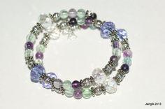 Fluorite and Crystal Memory Bracelet £12 #craftfest #jewellery #gemstone