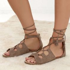 """Lace up Gladiator Sandals!! Gorgeous lace up sandals, taupe color, description in photo above, ordered online from Lulus so no """"tags"""" but everything is still exactly the same, UK 6 so US 8. New in box and same wrapping ❌TRADE FIRM PRICE Lulu's Shoes Sandals"""