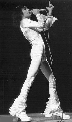 "soundsof71: "" Freddie Mercury, Queen, in an ensemble by designer Zandra Rhodes. "" John Deacon, Roger Taylor, Queen Photos, We Will Rock You, Queen Freddie Mercury, Queen Band, Killer Queen, Save The Queen, Brian May"