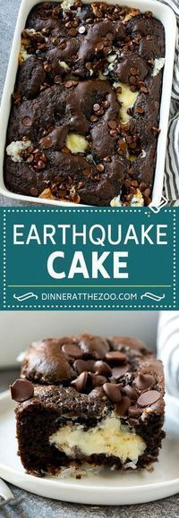 Earthquake Cake. Wanna try this. Coconut and pecan topped with fudge cake mix. Add in dollops of sweetened cream cheese and chocolate chips.