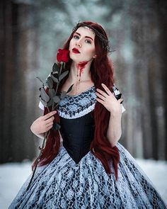 Dead princess  Model, style, costume, retouch - me @greatqueenlina  Photo - Sergey Ivanov  More in my Tumblr ---> http://greatqueenlina.tumblr.com  #victorianfashion #victorian #victorianstyle #victoriangothic  #victoriangoth #gothic #goth #gothgirl #redheadgirl #imredhead #redhead #redhair #fantasy #darkfantasy #dark #blackwhite #costume #costumedesign #balldress #рыжие #готика #elegant #decadance #black #snow #forest #blood #rose #redrose