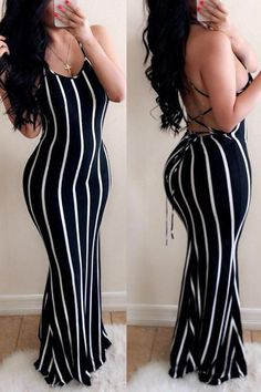 Lovely Casual Striped Backless Black Floor Length Dress Women's Best Online Shopping - Offering Huge Discounts on Dresses, Lingerie , Jumpsuits , Swimwear, Tops and More. Black Floor Length Dress, Floor Length Dresses, Sexy Dresses, Nice Dresses, Fashion Dresses, Bodycon Fashion, Cheap Dresses, Modest Fashion, Curvy Women Fashion