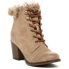 Madden Girl Watcher Faux Fur Trim Lace Up Boot (220 BRL) ❤ liked on Polyvore featuring shoes, boots, taupe pari, vegan shoes, lace up shoes, laced up boots, faux-leather boots and laced boots