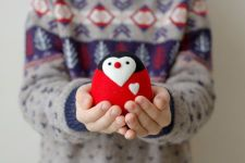 Valentines Day Gift Penguin Love Valentines Decor Heart Unigue Gift Red Felt Animal Soft Sculpture Gift for Him for Here