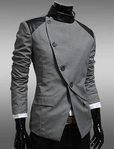 Men England Style Slanted Buckle Color Panel Blazer for Men | Item Code 704558 at M.EastClothes.com