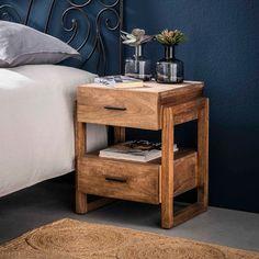 Nachtkastje 'Theodore' Mangohout, met 2 laden Wood Bedroom, Home Decor Bedroom, Modern Bedroom, Log Side Table, Square Side Table, Wooden Table Top, Wooden Bedside Table, Home And Living, Nightstand
