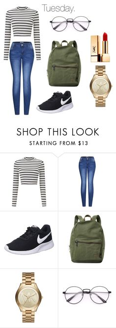 """""""Tuesday."""" by alessiabazzurro on Polyvore featuring Miss Selfridge, 2LUV, NIKE, Herschel Supply Co., Michael Kors and Yves Saint Laurent"""