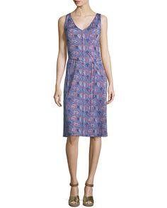 Tory Burch Sandy Sleeveless V-Neck Dress, Sea Coral Artemis, Women's, Size: L