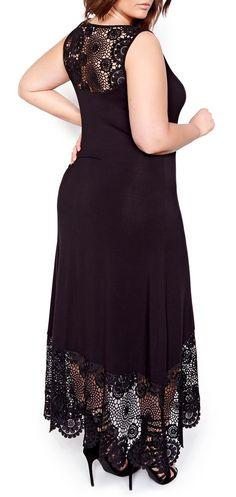 Plus Size Crochet Detail Maxi Dress