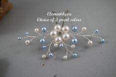 Algo azul perno de pelo accesorios Wedding del pelo por Element4you