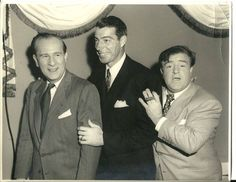 A vintage press shot of comic legends Bud Abbott and Lou Costello with baseball great Joe DiMaggio, circa late Hollywood Music, Golden Age Of Hollywood, Hollywood Stars, Classic Hollywood, Vintage Hollywood, Classic Comedies, Classic Movies, Lets Go, The Fall Guy