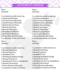 Beginner Gym Workout For Women Printable