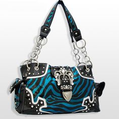 Blue Zebra Rhinestone Buckle Purse