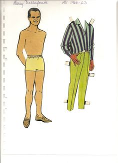 Swedish paper doll of Harry Bellafonte, 1966