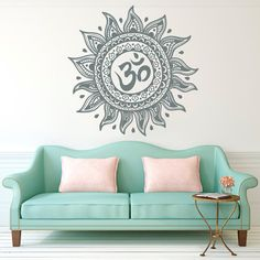 Om Wall Decal Mandala Vinyl Sticker Decals Lotus Flower Home Decor Boho Bohemian Bedroom Ornament Moroccan Pattern Namaste Yoga Studio x178