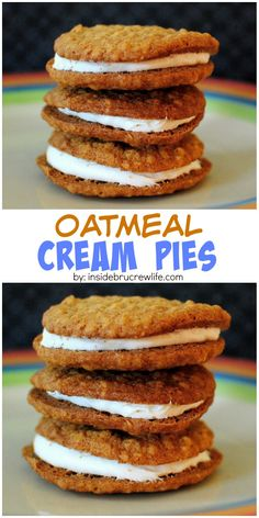 These oatmeal cookies are filled with a marshmallow cream filling. Perfect copy cat of the store bought cookies! These oatmeal cookies are filled with a marshmallow cream filling. Perfect copy cat of the store bought cookies! Cookie Desserts, Just Desserts, Cookie Recipes, Dessert Recipes, Little Debbie Snack Cakes, Cookie Sandwich, Peanut Butter Sandwich Cookies, Nutter Butter Cookies, Shortbread Cookies