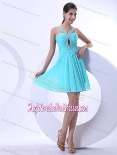 Beaded V-neck Mini-length Aqua Blue 5th Grade Graduation Dresses in Kampsville