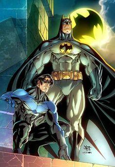 Nightwing & Batman by Roger Cruz