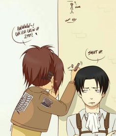 Levi, Hanji, funny, text, height, short, marker, wall; Attack on Titan