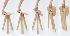 RCA Graduate product - The stool's three hinged legs fit perfectly into a y-shaped hole in the seat, locking them into place.