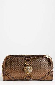 Burberry 'Metallic Woven' Leather Clutch