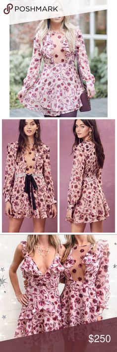 """For love and lemons Agnes Mini Dress Designed with a gorgeous printed floral georgette, this flirty mini dress from For Love and Lemons is embellished with scattered sequins, a sand tone mesh panel at the front and bell sleeves with button cuffs. ✨Imported ✨Dry Clean Only ✨Poly Blend ✨Fit Guide: -Model is 5ft 11 inches; Bust: 34"""", Waist: 25"""", Hips: 36"""" -Model is wearing a size XS ✨Relaxed Fit For Love And Lemons Dresses Mini"""
