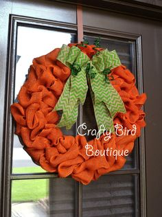 MADE TO ORDER Pumpkin Fall Halloween wreath on 16 frame, measuring approximately 20 completed. Made of orange burlap and a layered natural