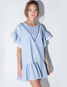 Chambray Frill Dress #pixiemarket #fashion #womenclothing @pixiemarket