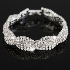 Da sposa di lusso braccialetti di cristallo austriaco per le donne.  Charm argento placcato amicizia catena braccialetti dei monili di modo