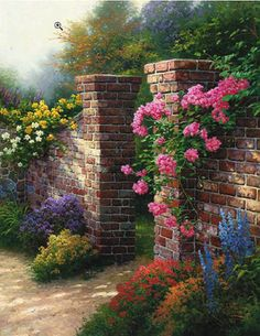 The Rose Garden Landscape Hand Painted Oil Painting On Canvas