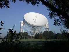 The Lovell Telescope is a radio telescope at Jodrell Bank Observatory, near Goostrey, Cheshire in the north-west of England. When it was constructed in 1955, the telescope was the largest steerable dish radio telescope in the world at 76.2 m (250 ft) in diameter; it is now the third largest, after the Green Bank telescope in West Virginia, USA, and the Effelsberg telescope in Germany.
