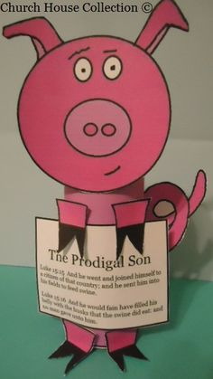 Church House Crafts has The Prodigal Son Pig Toilet Paper Roll Craft for Sunday school or Children's Church. Sunday School Crafts For Kids, Bible School Crafts, Bible Crafts For Kids, Sunday School Activities, Preschool Bible, Church Activities, Bible Activities, Sunday School Lessons, Preschool Class