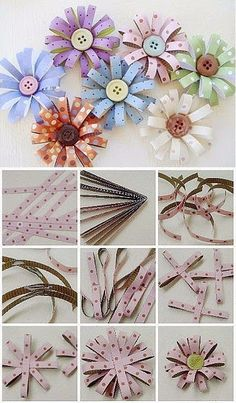 DIY Paper Button Flower by Hairstyle Tutorials Handmade Flowers, Diy Flowers, Fabric Flowers, Paper Flowers, Twine Flowers, Flower Diy, Diy Paper, Paper Crafts, Diy Crafts