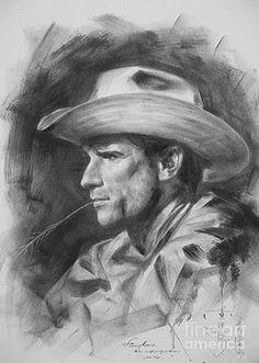 Hongtao     Huang - original drawing sketch charcoal chalk  gay man portrait of cowboy art pencil on paper by hongtao