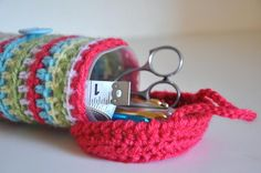 Upcycled Tool Container Crocheted Colorful by AllThingsGranny - no pattern but great idea! Crochet Purses, Crochet Scarves, Crochet Yarn, Crystal Light Containers, Knitted Throws, Glasses Case, Crochet Home, Crochet Accessories, Loom Knitting