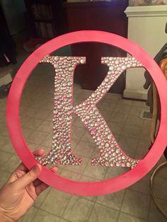 circle wood monogram rhinestone K