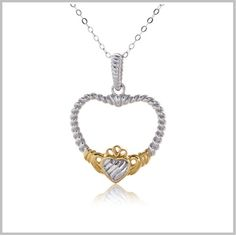 Circular Heart Pendant for Women Ladies Shanore Platinum Gold Plated Claddagh