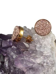 Rose Gold Druzy Earrings Studs Drusy Quartz Gold Vermeil Bezel Set Titanium Druzy Earrings Studs