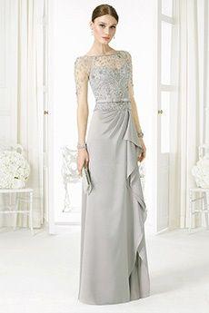 A-Line/Princess Jewel Floor-length Satin Chiffon Mother of the Bride Dress