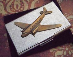 Business Card Holder Brass Propeller Airplane Flying Prop Plane Steampunk Gothic Victorian Pan Am Vintage Style DC9 Air Plane