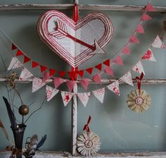 Sewed Valentine paper heart and small fabric banners. Lovin it!!!