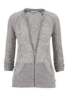 gray mesh zip front