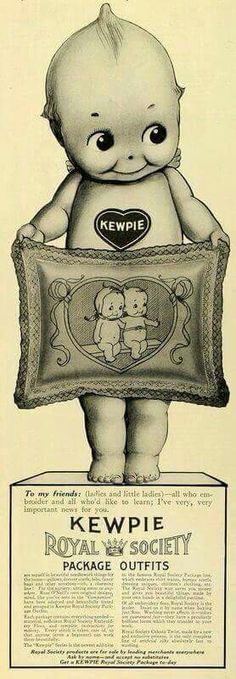 Advertisement for Rose O'Neill-designed Kewpie embroidery, sold by the Kewpie Royal Society, United States, date unknown, by Rose O'Neill. I LOVE that pillow. Vintage Tins, Vintage Cards, Vintage Postcards, Vintage Images, Cupie Dolls, Kewpie Doll, Antique Dolls, Vintage Dolls, Paper Dolls