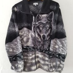 2bb7ad5d492 Vintage Full Thick Teddy Bear Wolf Wolves Fleece . Amazingly - Depop Wolf  Fleece