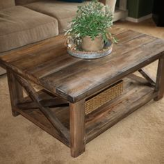 Rustic X Coffee Table in natural stains Custom made rustic coffee tables, sofa tables, end tables, lamps, and more. Plans @anawhitediy