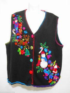 Marisa Christina Ugly Christmas Sweater Vest Black w Appliques Woman 2X 2000 #MarisaChristina