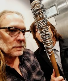 Greg Nicotero, Lucille, and Norman Reedus backstage at Talking Dead on 3 April 2016 - I think Daryl was on the receiving end of Lucille. My opinion. Walking Dead Memes, Walking Dead Season, Fear The Walking Dead, Talking To The Dead, Melissa Mcbride, Dead Inside, Daryl Dixon, Norman Reedus, Best Shows Ever