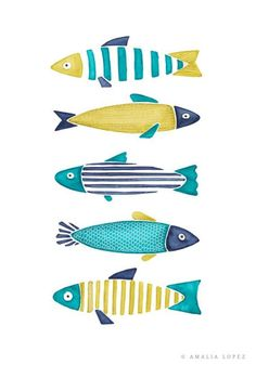 Kitchen Prints, Kitchen Art, Kitchen Poster, Watercolor Fish, Fish Drawings, Fish Print, Fish Design, Pottery Painting, Coastal Decor