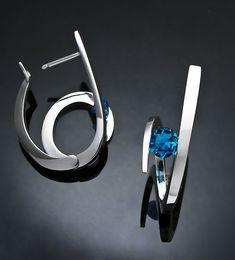London blue topaz earrings  statement by VerbenaPlaceJewelry